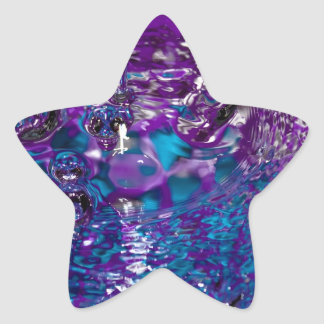 Blue and Purple Abstract Water Photograph Star Sticker
