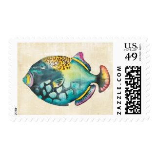 Blue and Purple Aquarium Fish Postage