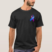 Blue and Purple Awareness Pocket Ribbon T-Shirt