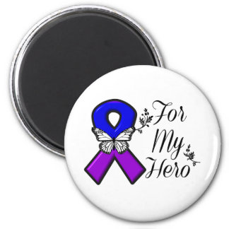 Blue and Purple Awareness Ribbon For My Hero 2 Inch Round Magnet