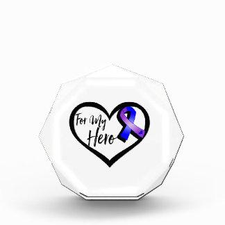 Blue and Purple Awareness Ribbon For My Hero Acrylic Award