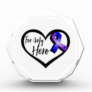 Blue and Purple Awareness Ribbon For My Hero Award