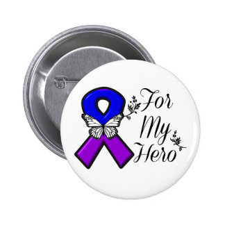 Blue and Purple Awareness Ribbon For My Hero Button