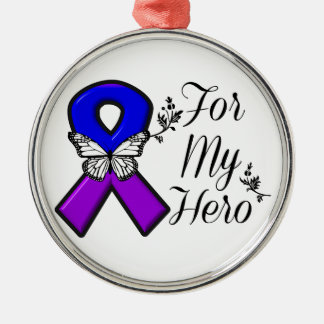 Blue and Purple Awareness Ribbon For My Hero Metal Ornament