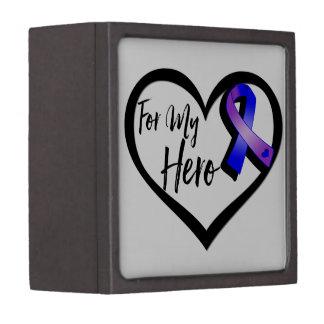 Blue and Purple Awareness Ribbon For My Hero Premium Gift Box