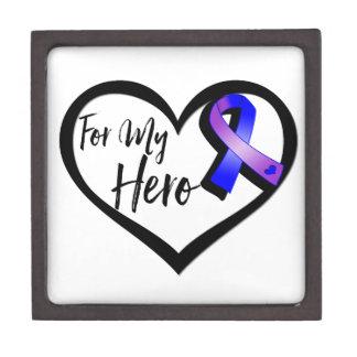 Blue and Purple Awareness Ribbon For My Hero Premium Jewelry Box
