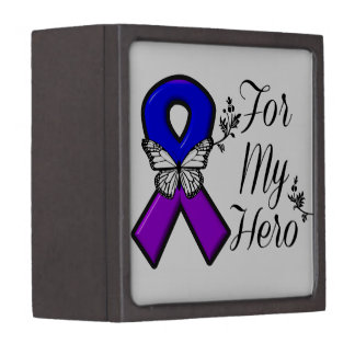 Blue and Purple Awareness Ribbon For My Hero Premium Jewelry Boxes