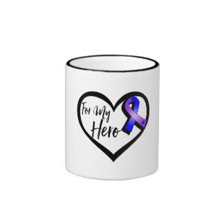 Blue and Purple Awareness Ribbon For My Hero Ringer Mug