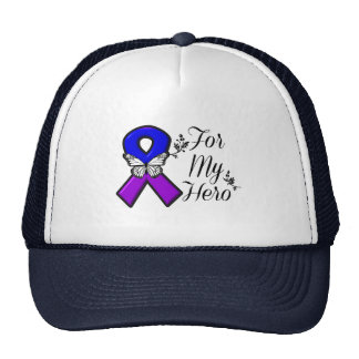 Blue and Purple Awareness Ribbon For My Hero Trucker Hat