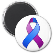 Blue and Purple Awareness Ribbon Magnet