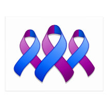 Blue and Purple Awareness Ribbon Trio Postcard