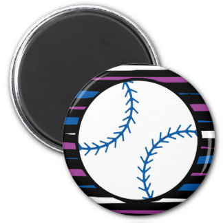 blue and purple baseball design 2 inch round magnet