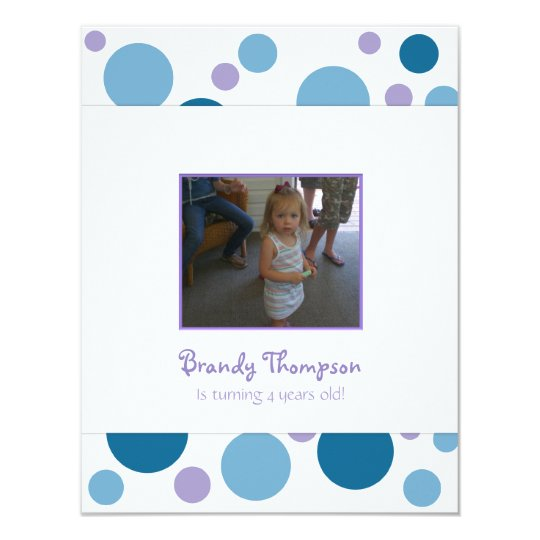 Blue and Purple Bubbles Birthday Party Invitation