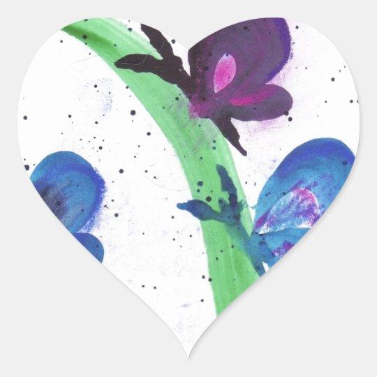 Blue and Purple Butterflies Heart Sticker