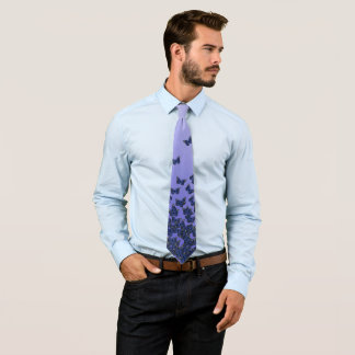 Blue and purple butterflies theme, insects pattern tie