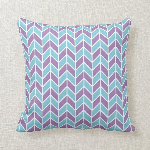 Blue Purple Throw Pillows : Blue and Purple Chevron Pattern Throw Pillows Zazzle