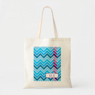 Blue and Purple Chevron Striped Monogram Tote Bags