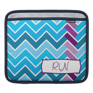 Blue and Purple Chevron Striped  Monogram Sleeve For iPads