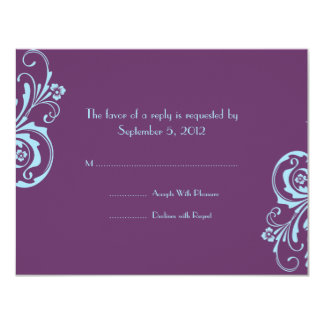 Blue and Purple Chic Wedding RSVP Card