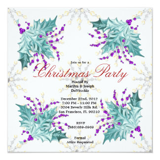 Blue and Purple Christmas Mistletoe Holiday Party  Card