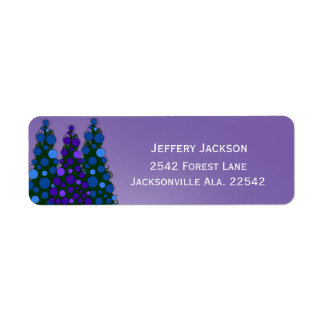 Blue And Purple Christmas Tree Address Labels