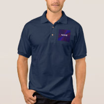 Blue and Purple Circular Patchwork Array 1 Polo Shirt