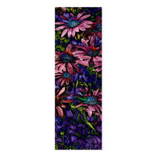Blue And Purple Coneflower  Book Marker Double-Sided Mini Business Cards (Pack Of 20)
