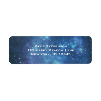 Blue and Purple Cosmic Space Image Label