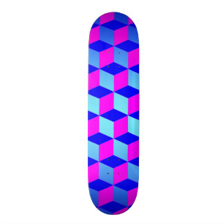 Blue and Purple Cubes Skateboard Deck