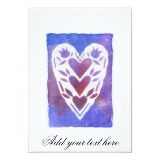 Blue and Purple Cut Paper Heart Mixed Media Art Card