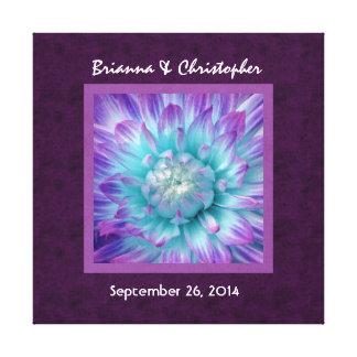 Blue and Purple Dahlia Wedding Custom Names V014 Canvas Print