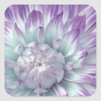 Blue and Purple Dahlia - Wedding Envelope Seal Square Sticker