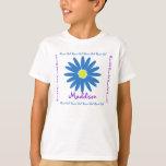 Blue and Purple Daisy Flower Girl T-Shirt