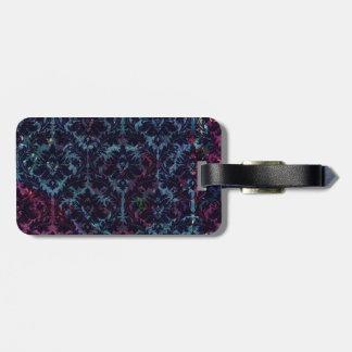 Blue and purple Damask Luggage Tags