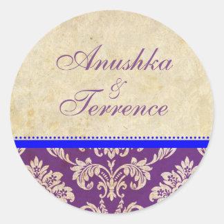 Blue and Purple Damask Stripe Wedding Sticker