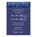 Blue and Purple Damask Wedding Invitation R431