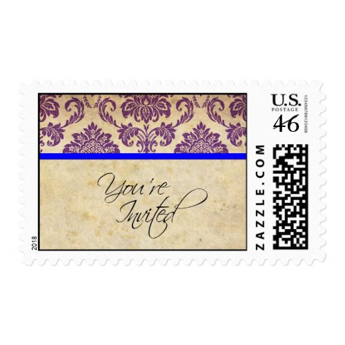 Blue and Purple Damask Wedding Postage Stamp stamp