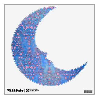 Blue and Purple Damsk Man on the Moon Wall Sticker