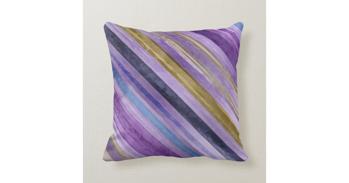 Blue And Lavender Throw Pillows : Blue and Purple Diaganol Stripe Throw Pillow Zazzle.com