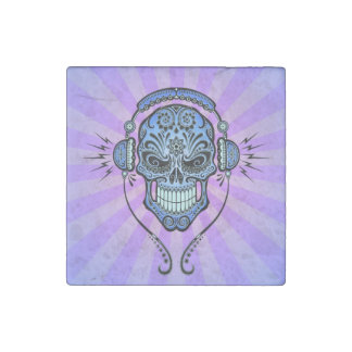 Blue and Purple DJ Sugar Skull with Rays of Light Stone Magnet