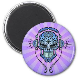 Blue and Purple DJ Sugar Skull with Rays of Light Refrigerator Magnets