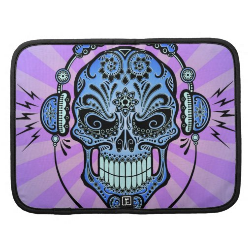Blue and Purple DJ Sugar Skull with Rays of Light Organizers