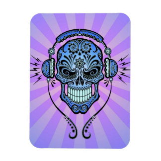 Blue and Purple DJ Sugar Skull with Rays of Light Rectangle Magnet