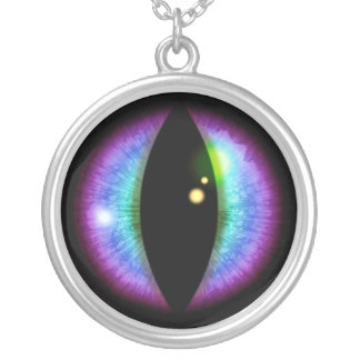 Blue and Purple Dragons Eye Silver Plated Necklace