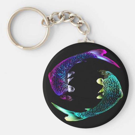 Blue and Purple Fish Keychain