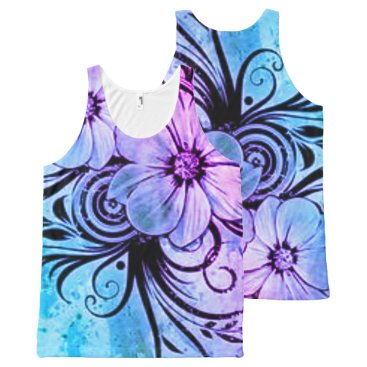 malhcreations Blue and Purple Floral All-Over-Print Tank Top