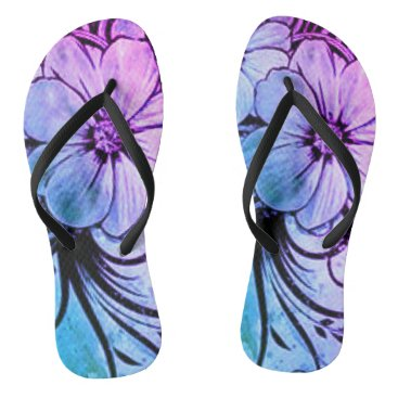 Beach Themed Blue and Purple Floral Flip Flops