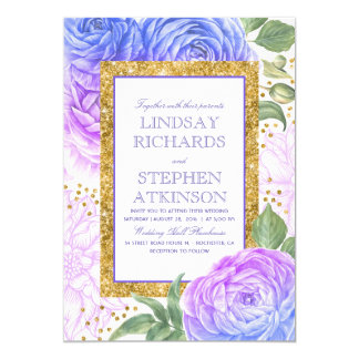 Blue and Purple Floral Gold Confetti Wedding Card