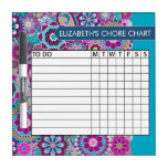 Blue and Purple Floral Pattern Chore Chart Dry-Erase Board