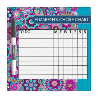 Blue and Purple Floral Pattern Chore Chart Dry Erase Whiteboard